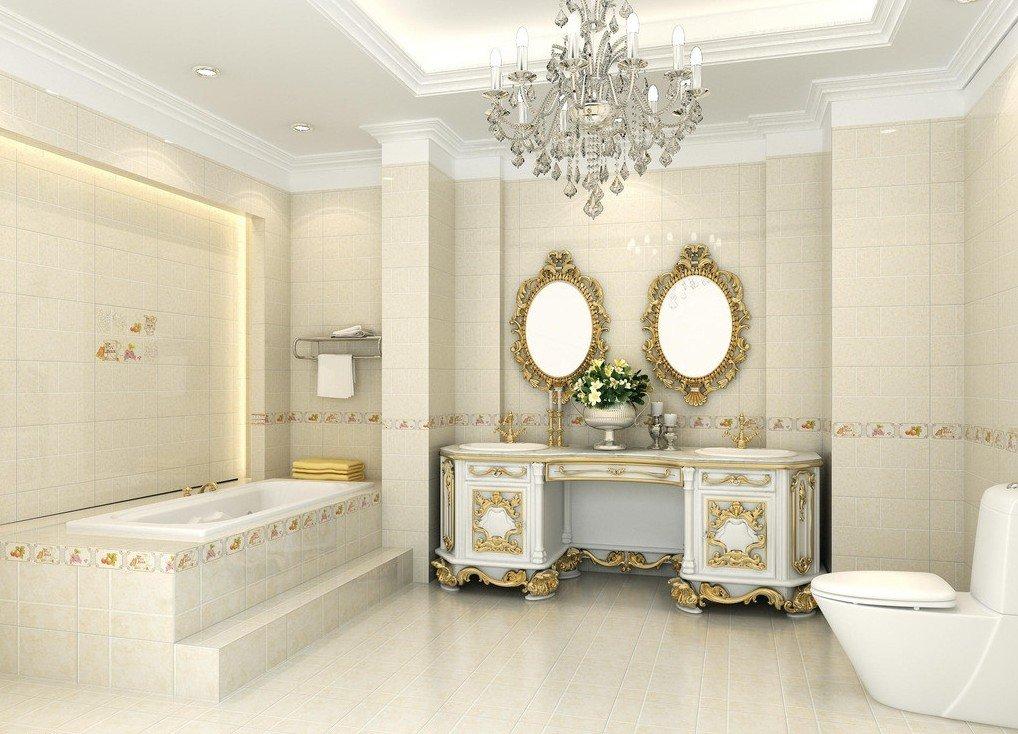 ванная комната в классическом стиле с люстрой