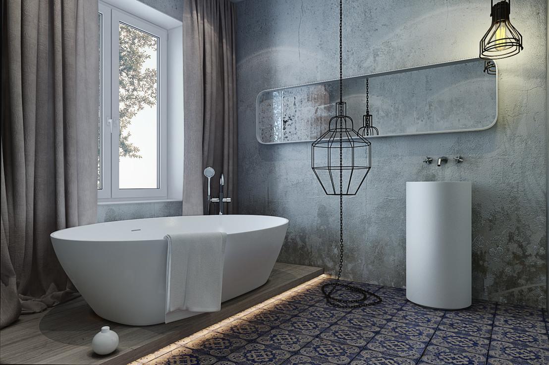 ванная комната в стиле лофт бетонная отделка