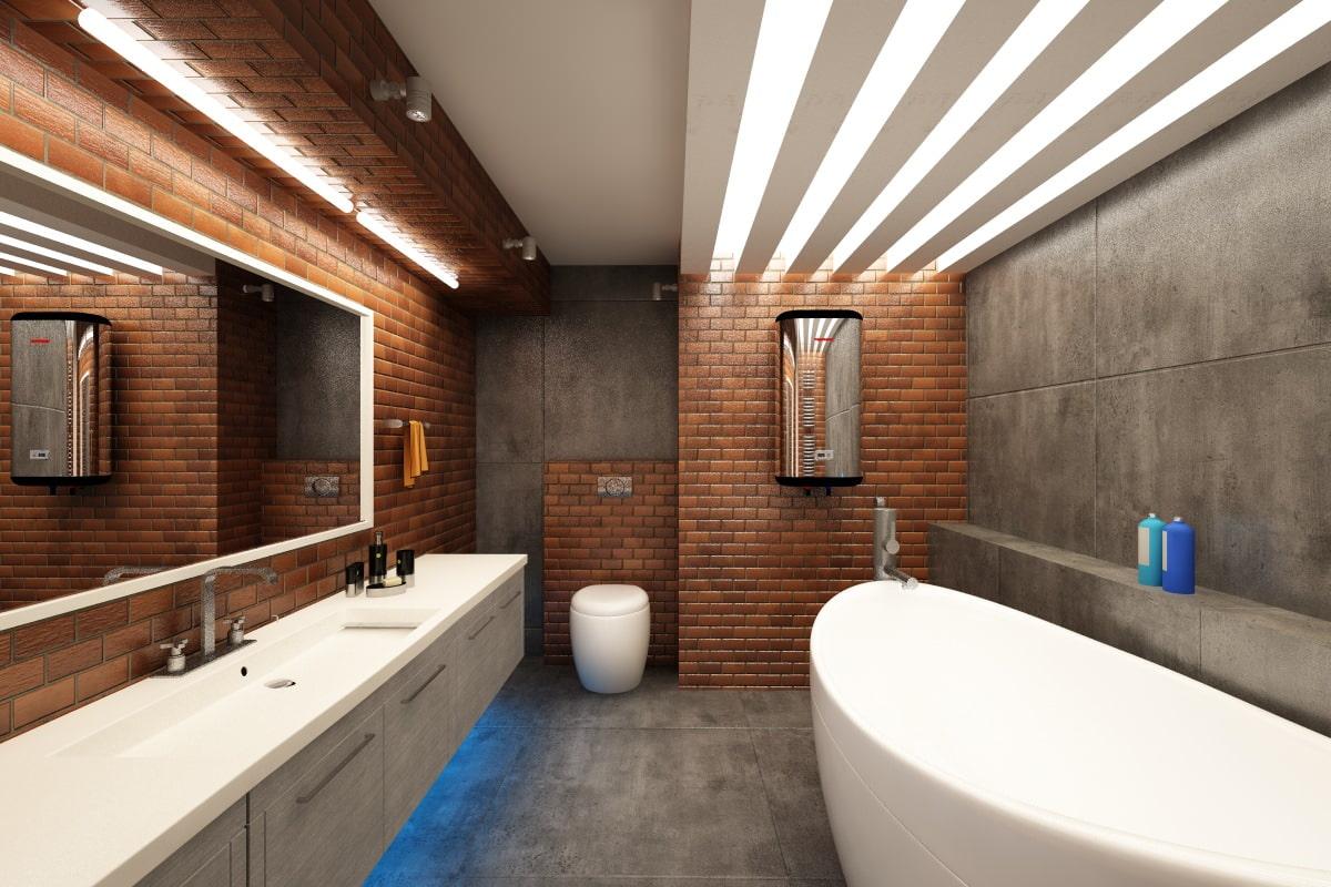 ванная комната в стиле лофт дизайн интерьера