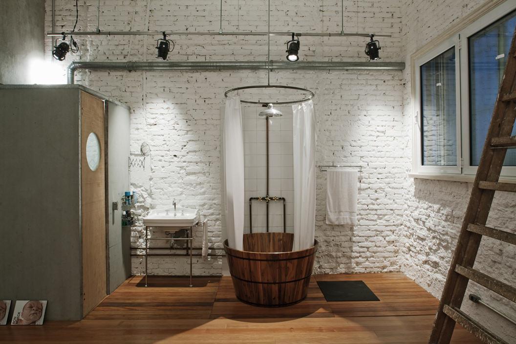 ванная комната в стиле лофт кирпичная отделка