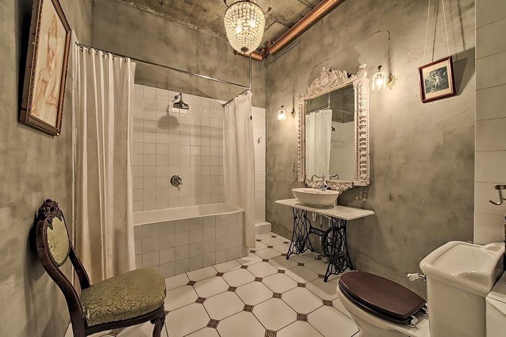 ванная комната в стиле лофт освещение