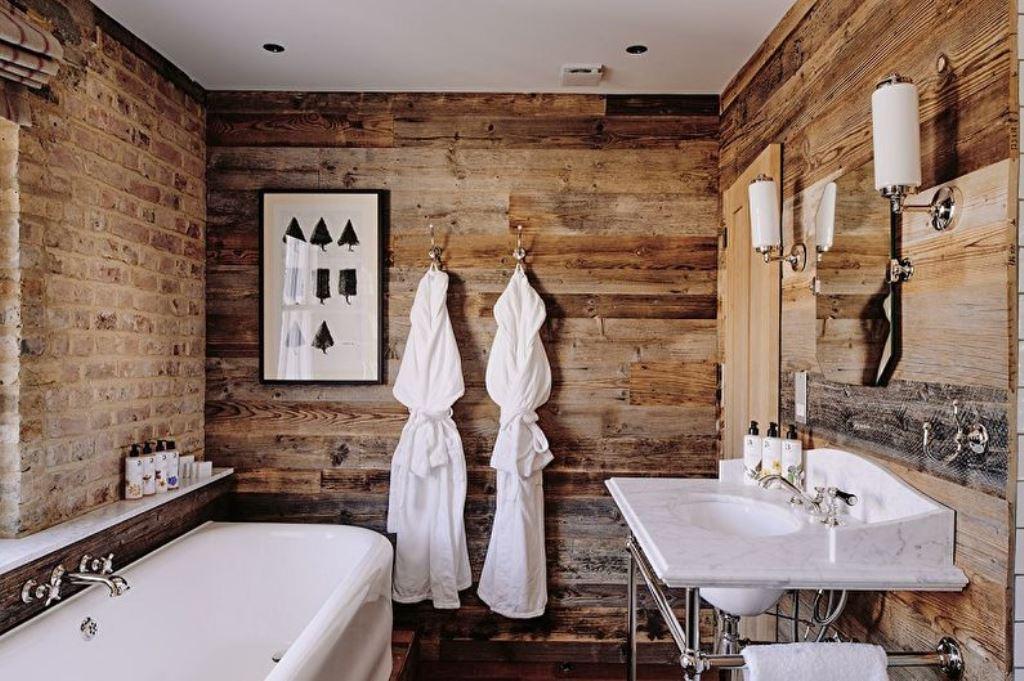 ванная комната в стиле лофт отделка из дерева