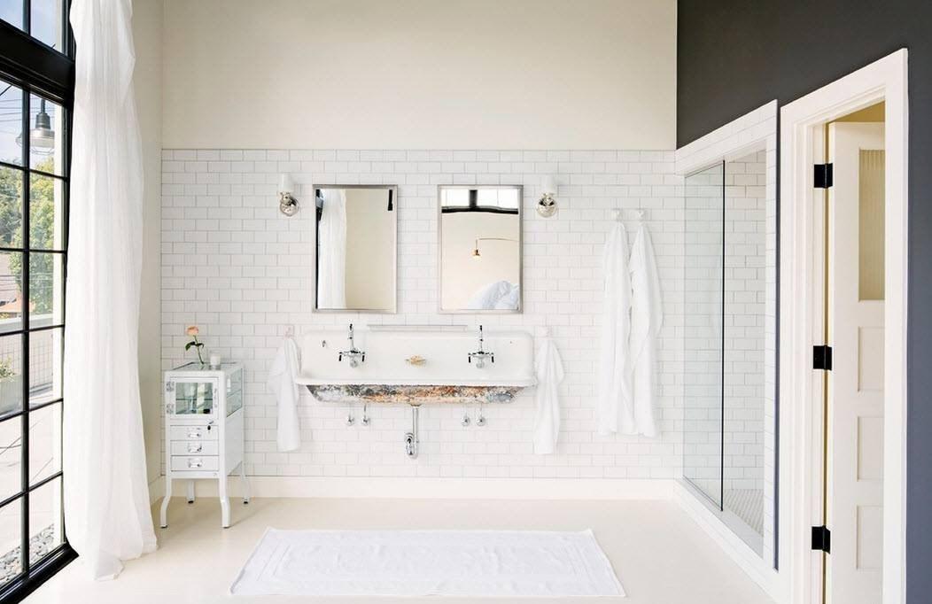 ванная комната в стиле лофт отделка под кирпич