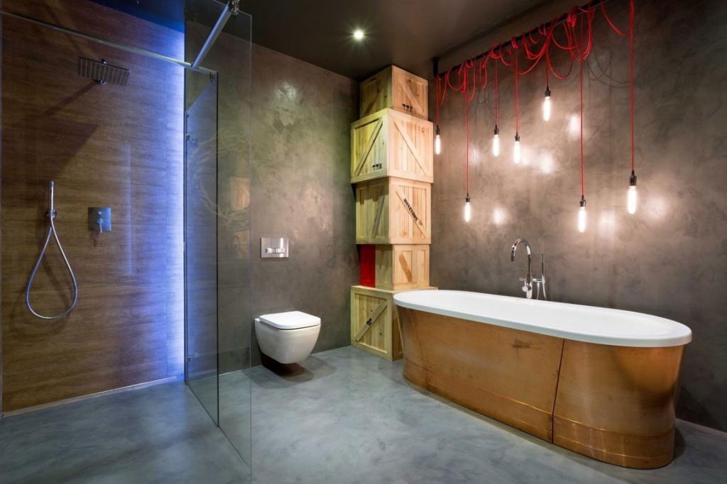 ванная комната в стиле лофт с душевой кабиной