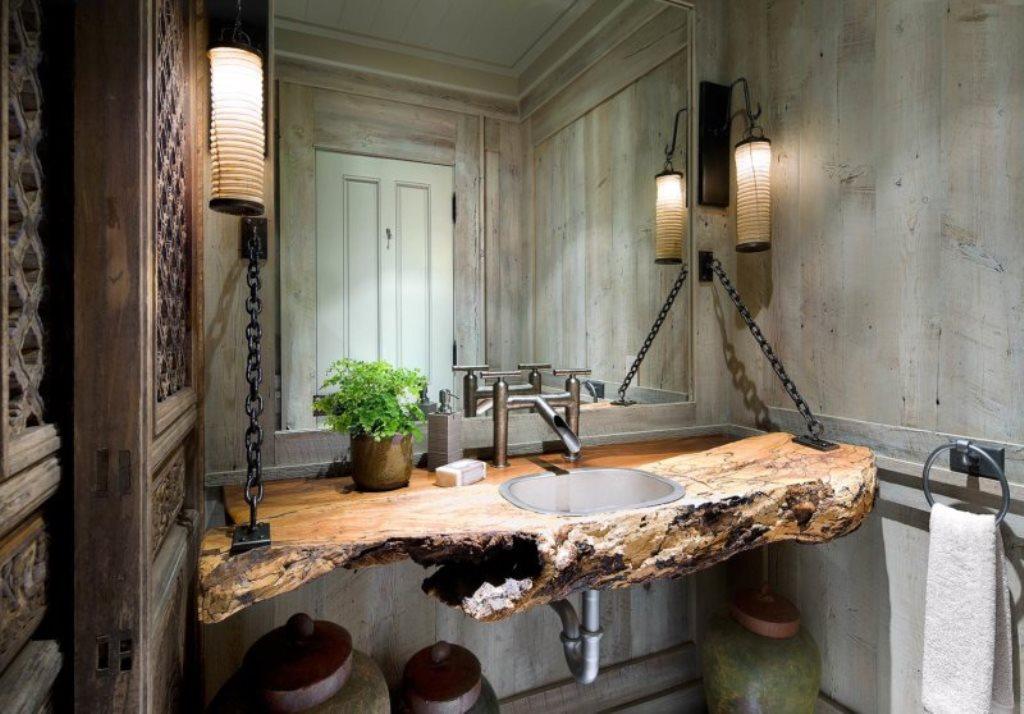 ванная комната в стиле лофт с необычной раковиной