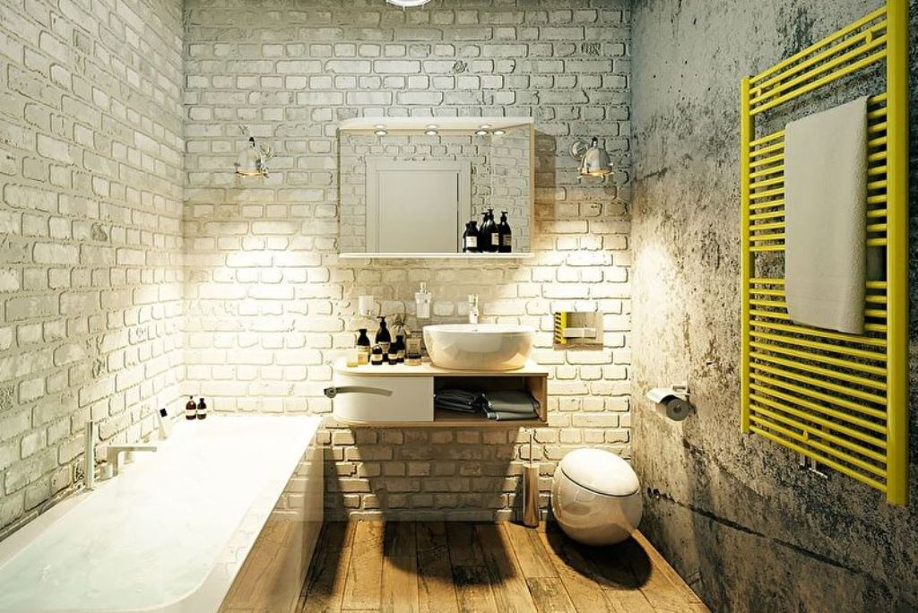 ванная комната в стиле лофт с необычным унитазом
