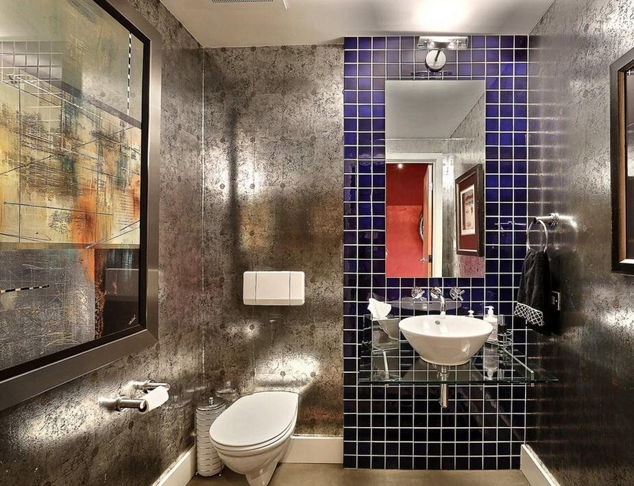 ванная комната в стиле лофт с зеркалами