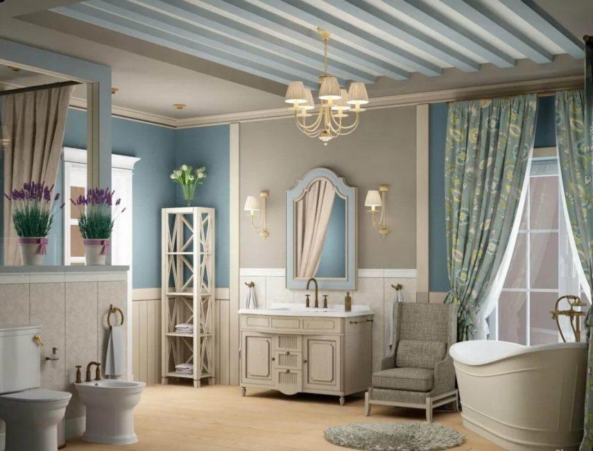 ванная комната в стиле прованс с балками на потолке