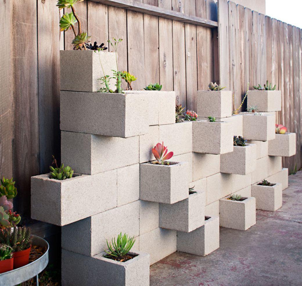 вазоны для цветов из бетонных кубов